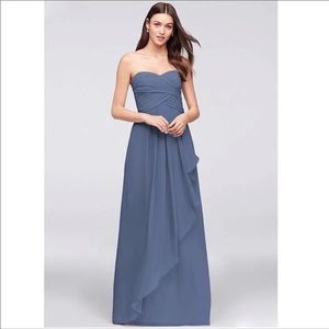 David's bridal steel blue bridesmaid dress sz 2
